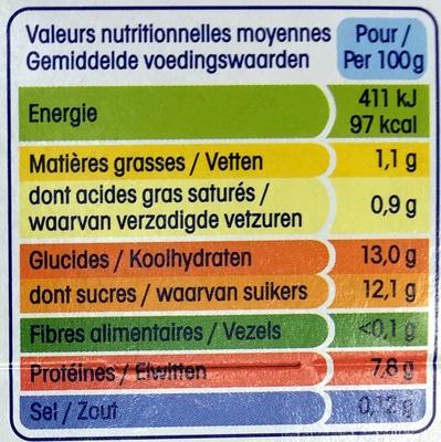 Yopa ! Noix de Coco (1,1 % MG) - Informations nutritionnelles