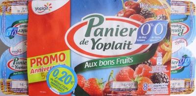 Panier de Yoplait (0 % MG, 0 % Sucres ajoutés) - (Cerise, Fraise, Framboise, Mûre) 8 Pots - Produit - fr