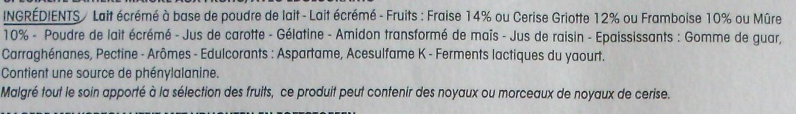 Panier de Yoplait (0 % MG, 0 % Sucres ajoutés) - (Cerise, Fraise, Framboise, Mûre) 8 Pots - Ingrédients - fr