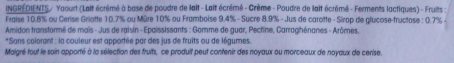 Panier de Yoplait (Framboise, Fraise, Cerise, Mûre) 8 Pots - Ingrédients - fr