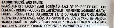 Panier de Yoplait Pêche - Ingrédients - fr
