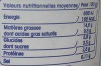 Crème Fraîche Légère Epaisse (15% MG) - Voedigswaarden
