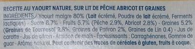 Yopa! Craquant sur lit de graines & pêche abricot (2,5% MG) - Ingrédients