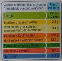 Yopa! Craquant sur lit de graines & pêche abricot (2,5% MG) - Informations nutritionnelles