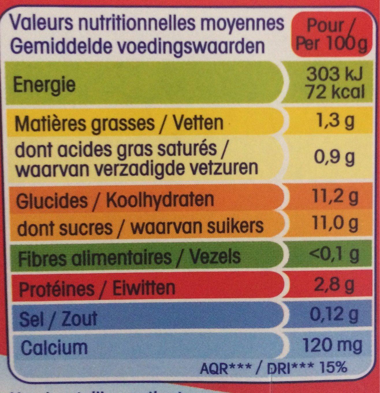 Yab ptit yop aromatise fraise - Voedigswaarden