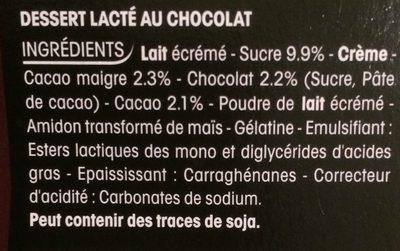 Dessert lacté au chocolat - Ingrédients - fr
