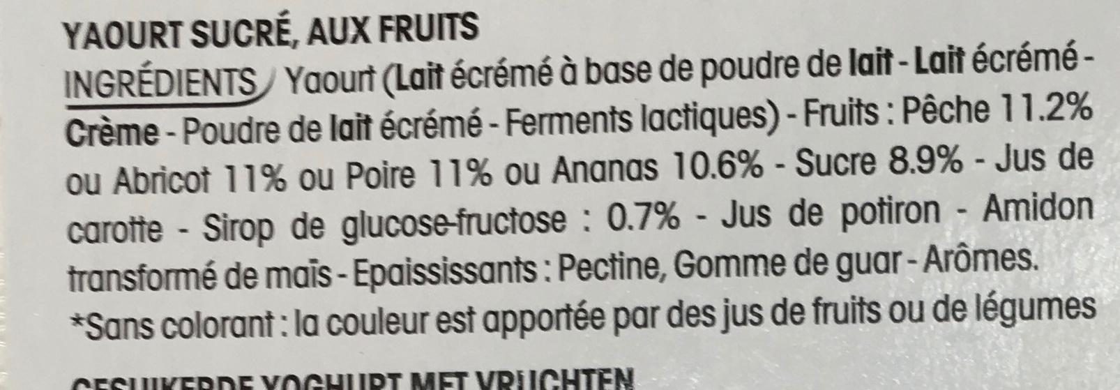 Panier de Yoplait Abricot - Ananas- Pêche - Poire - Ingrediënten - fr
