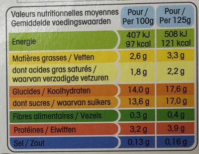 Panier de Yoplait Abricot - Ananas- Pêche - Poire - Voedingswaarden - fr