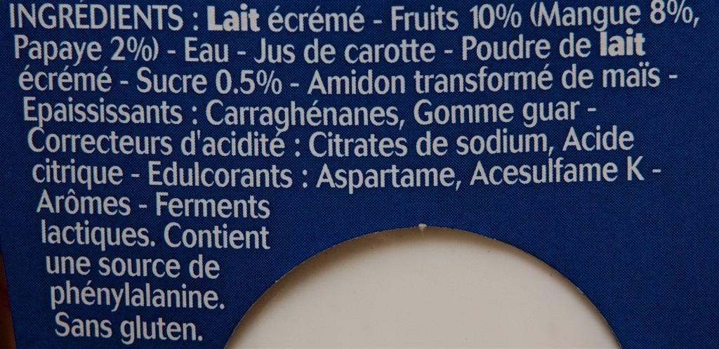 Panier de yoplait extra mangue et papaye 480 g 4 120 g - Acide citrique leclerc ...