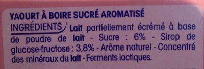 Yaourts à boire goût fraise - Ingrediënten