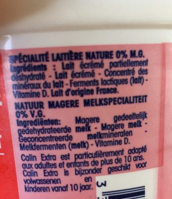 Calin Extra 0% - Ingredients