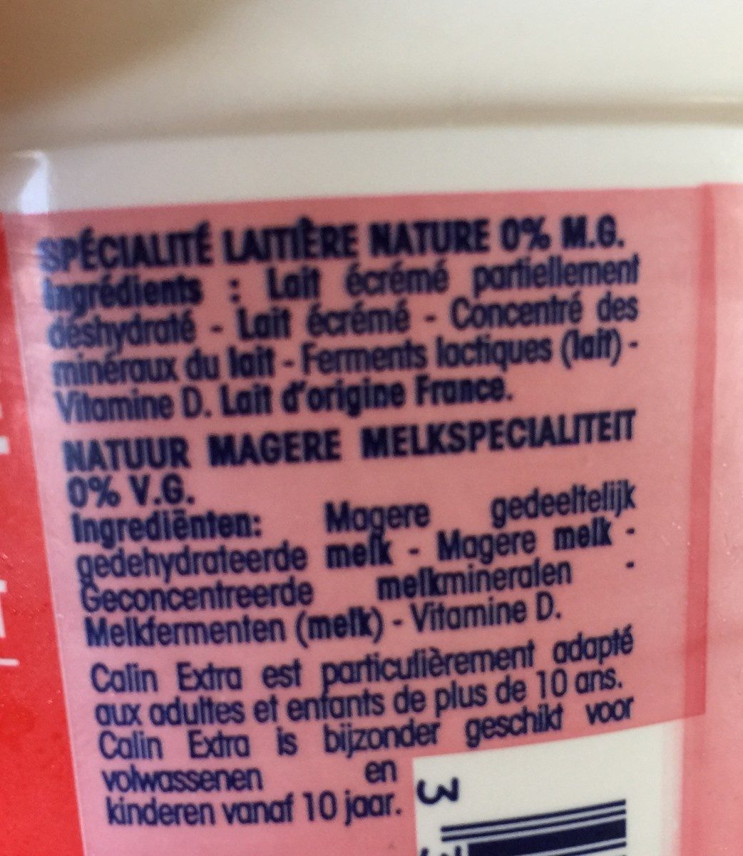 Câlin extra 0% - Ingredients - fr