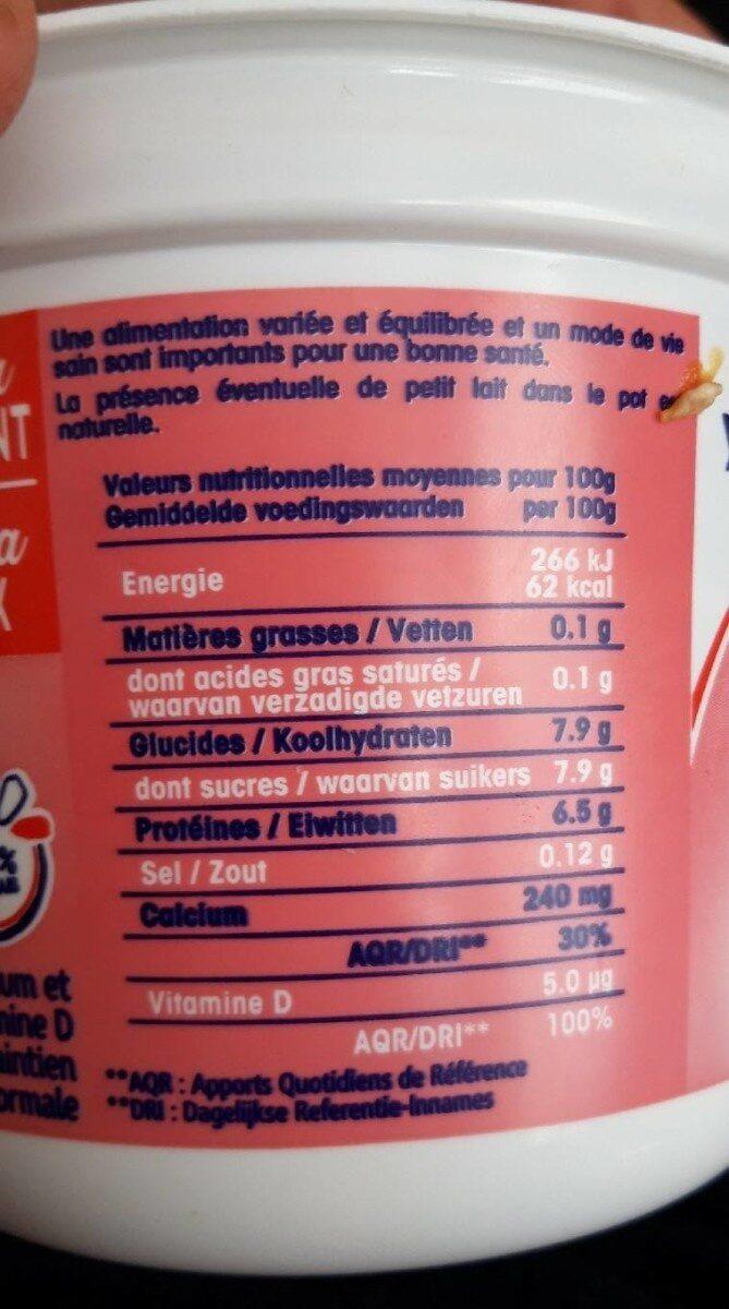Câlin extra 0% - Nutrition facts - fr