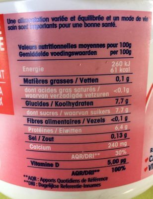 Calin Extra 0% - Nutrition facts