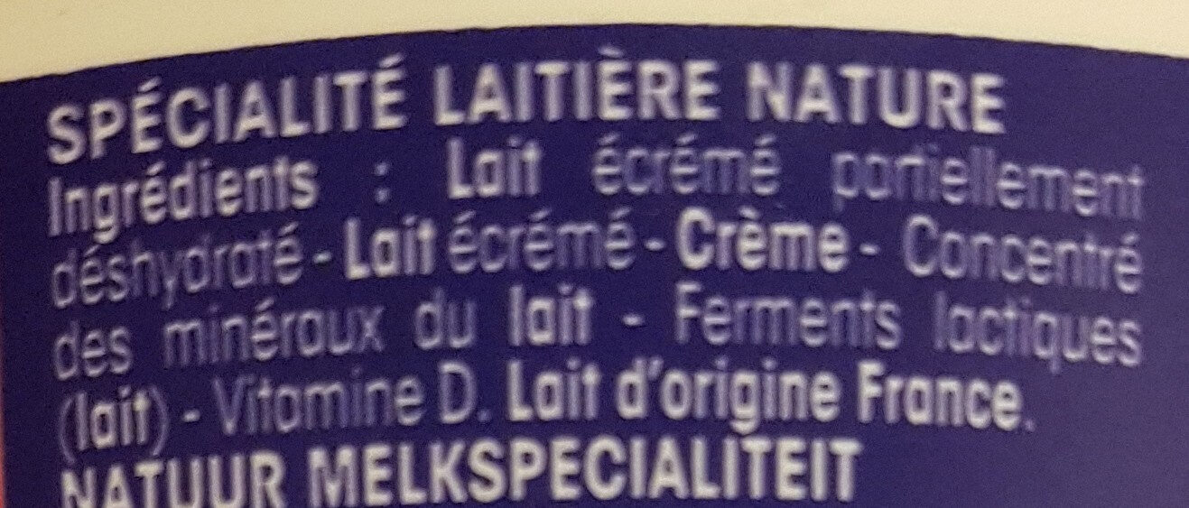 Fromage blanc Calin Extra - Ingredients - fr