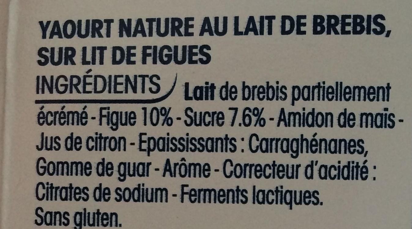 Yaourt 100% lait de brebis sur lit de figue - Ingredients - fr