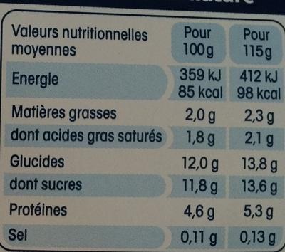 Yaourt 100% lait de brebis sur lit de figue - Nutrition facts - fr