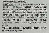 Panier de Yoplait Abricot / Nectarine - Ingrédients - fr