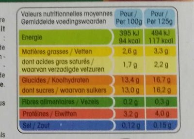 Panier de Yoplait Abricot / Nectarine - Informations nutritionnelles - fr