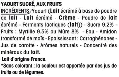 Yaourt Mûre Myrtille - Ingrédients - fr
