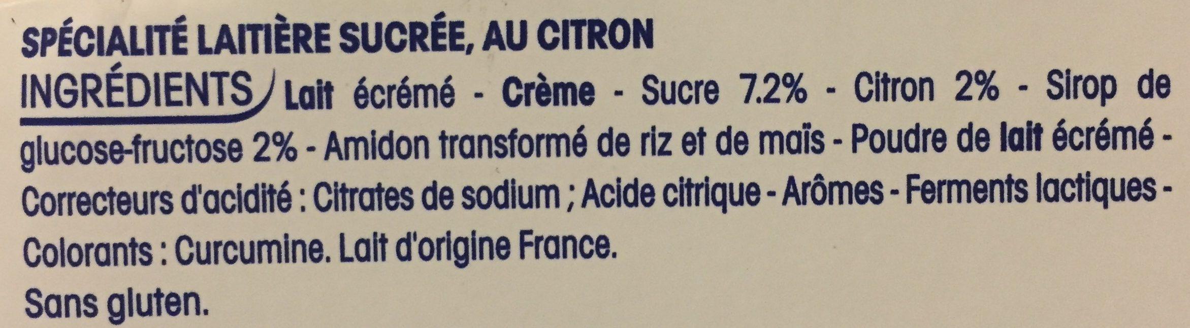 Perle de Lait Citron - Ingrédients - fr