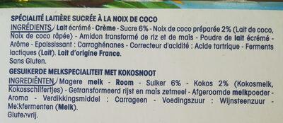 Perle de lait saveur coco - Ingredients - fr