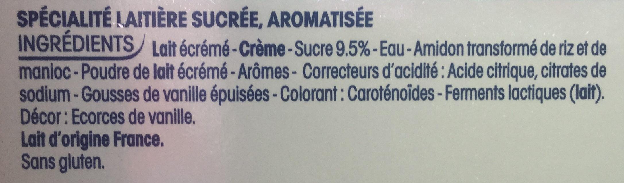 Perle de Lait - Saveur Vanille - Ingredients - fr