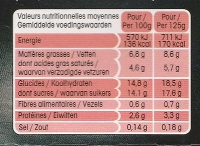 Panier de Yoplait sensations Fraise/Framboise - Nutrition facts