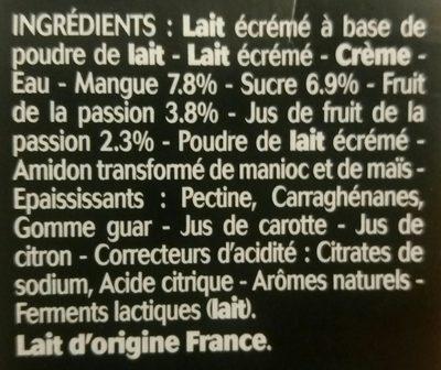 Panier de Yoplait sensations Mangue/Passion - Ingredients
