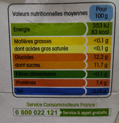 Yopa vanille - Nutrition facts