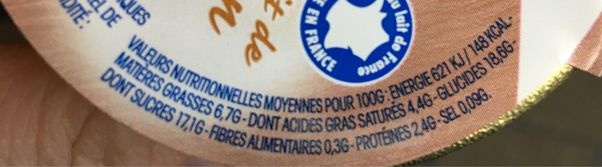 Yaourt sur lit de crème de marron vanillée - Nutrition facts
