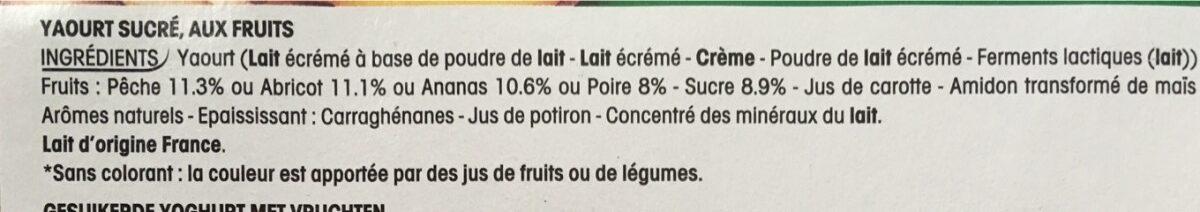 Yaourt sucré, aux fruits, aromatisé - Ingredientes - fr