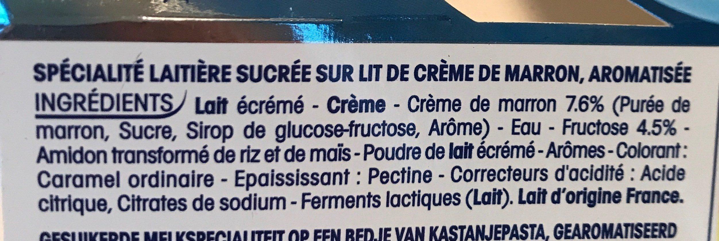 Perle de lait sur lit creme de marron - Ingredients