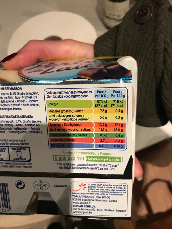 Perle de lait sur lit creme de marron - Nutrition facts