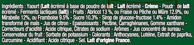 Panier de Yoplait Nature sur Fruits : Framboise, Mirabelle, Mûre, Abricot, Fraise, Pêche - Ingredients