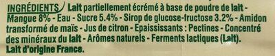 Yop citron - Ingrédients