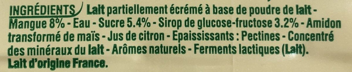 Yop citron - Ingrédients - fr