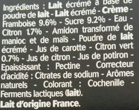 Sensations Paniers de Yoplait - Ingredients - fr