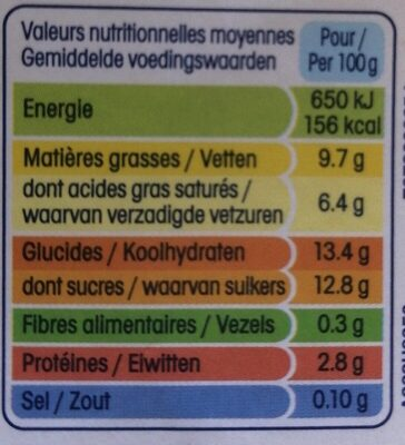 Spécialité laitière sucrée, aromatisée à la vanille, aux copeaux de chocolat - Informations nutritionnelles - fr