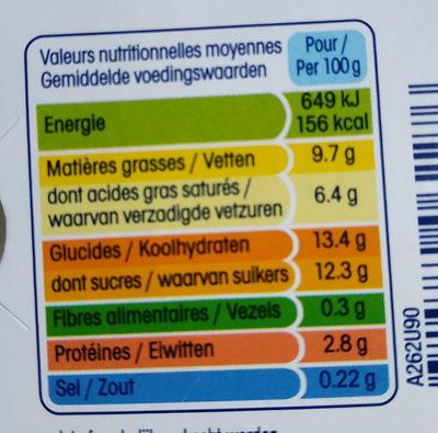 Perle de lait éclats de chocolat parfum caramel - Informations nutritionnelles