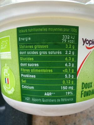 Calin Bio - Informations nutritionnelles - fr