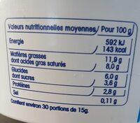 Crème fraîche légère - Nutrition facts - fr