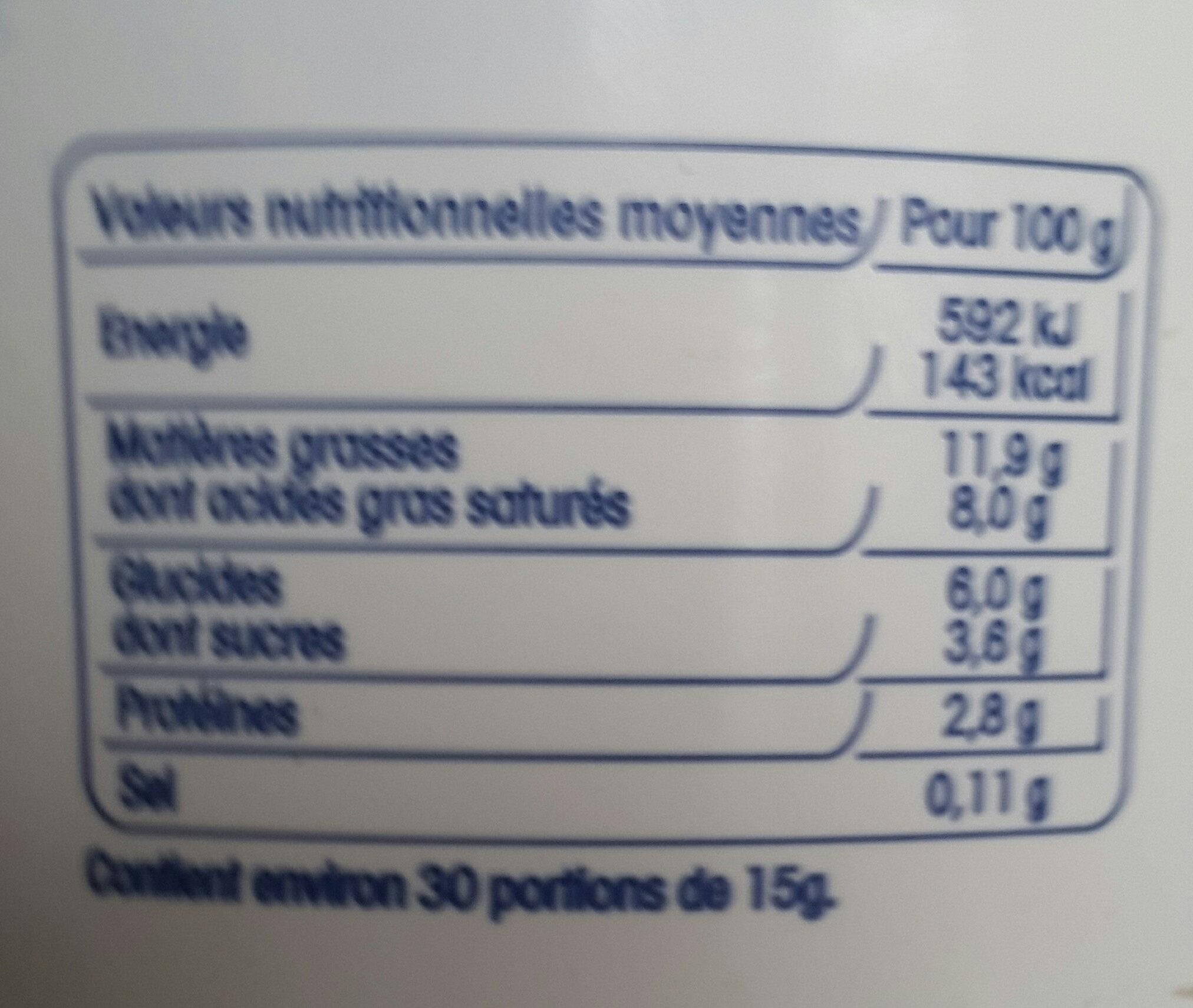 Crème Fraîche LÉGÈRE - Voedingswaarden
