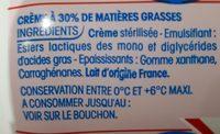 Crème fluide à 30% de matières grasses. - Ingrediënten - fr