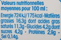 Crème légère fluide à 15% de matières grasses - Informação nutricional - fr