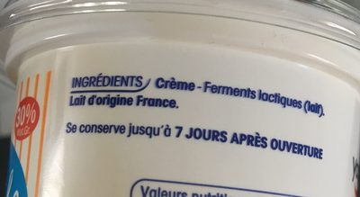 Creme fraiche entiere - Ingrédients - fr