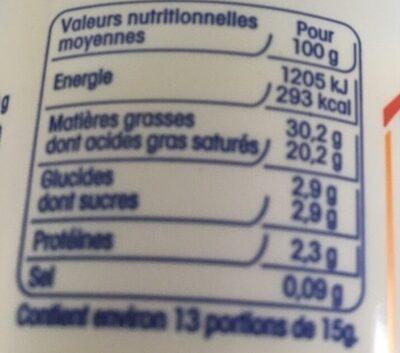 Crème fraîche épaisse. - Informação nutricional - fr