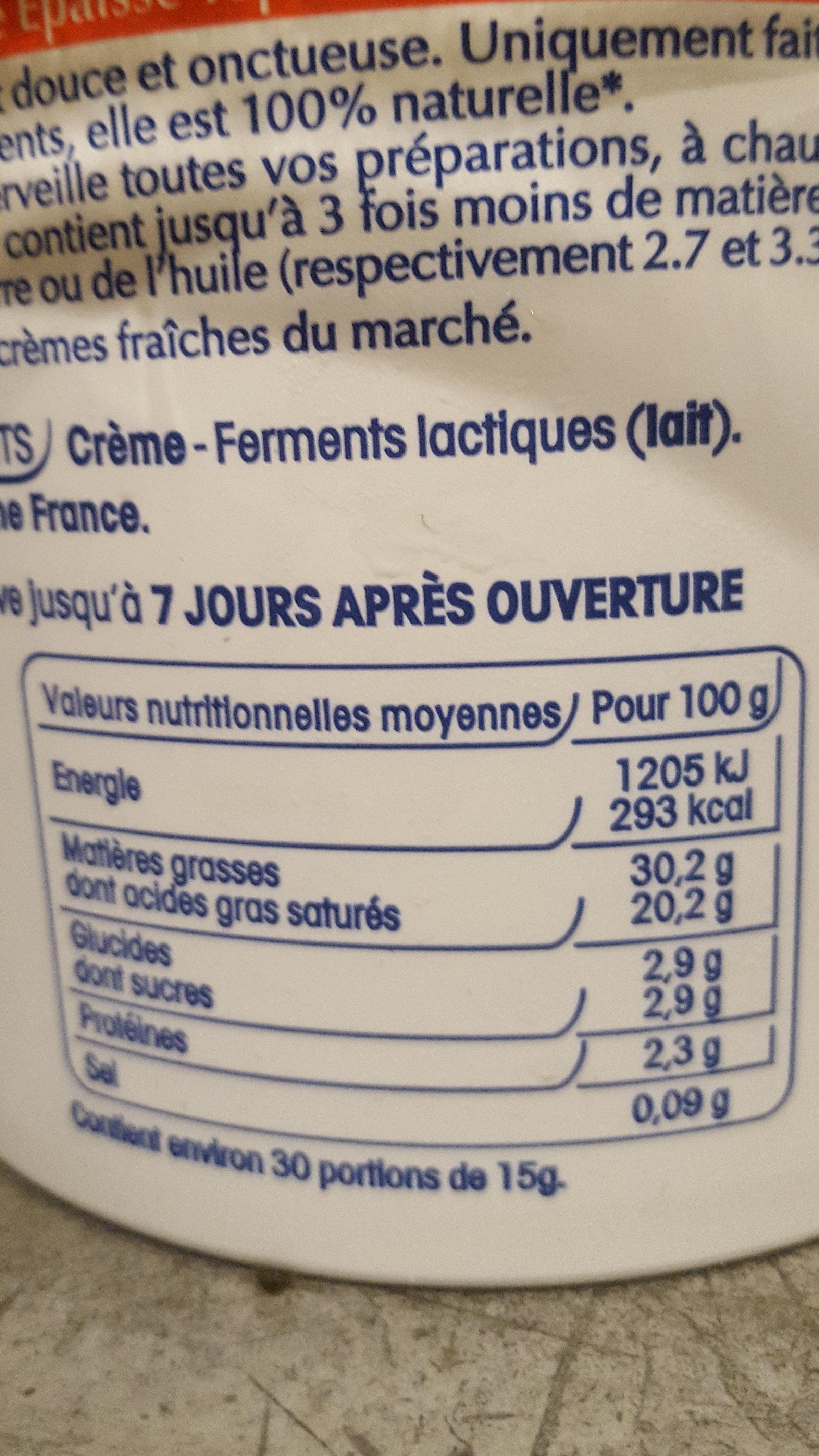 Crème fraiche - Nutrition facts