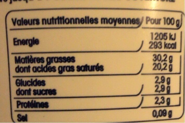 Crème fraîche - Informations nutritionnelles - fr