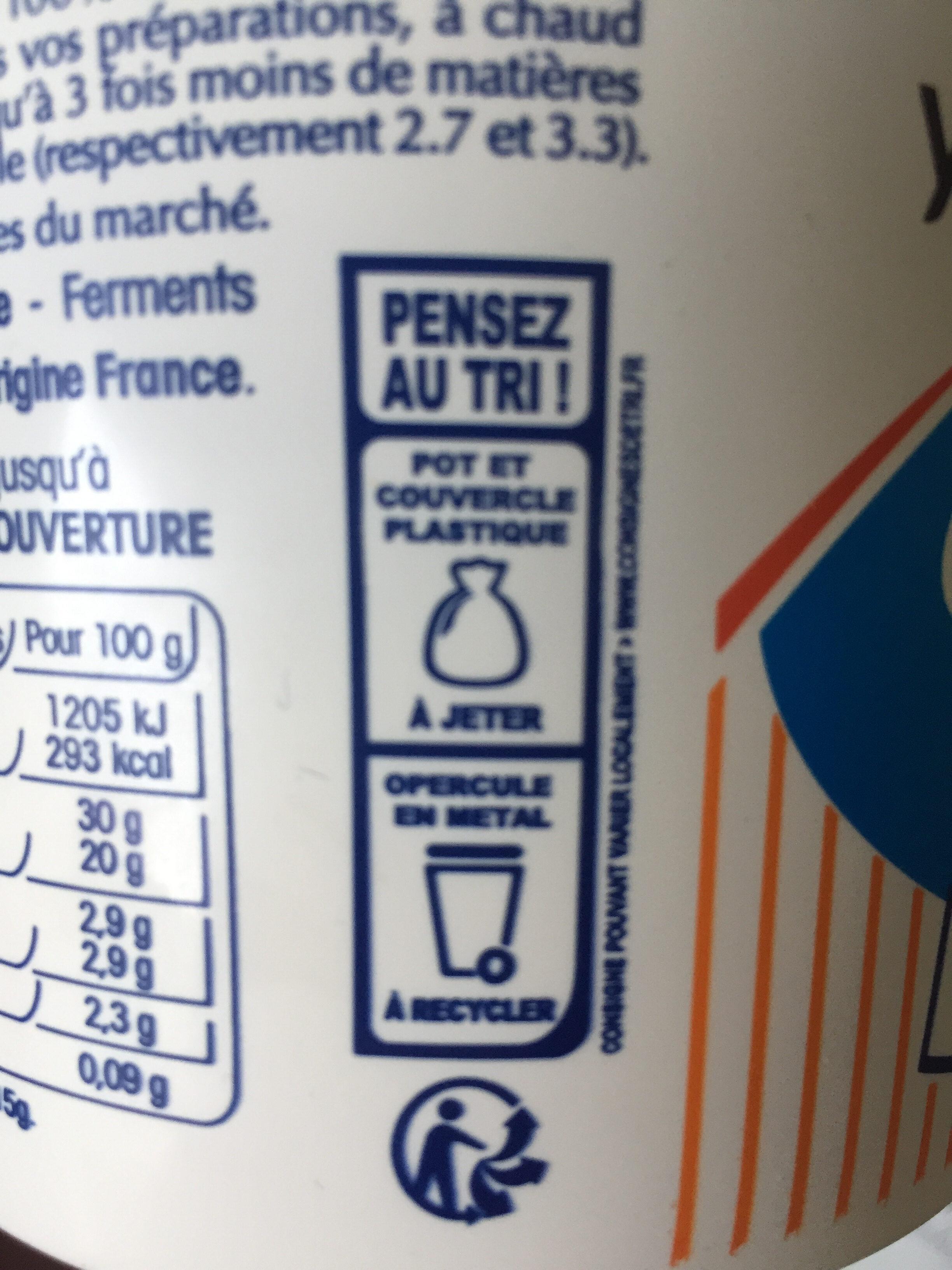 Crème fraîche - Instruction de recyclage et/ou informations d'emballage - fr